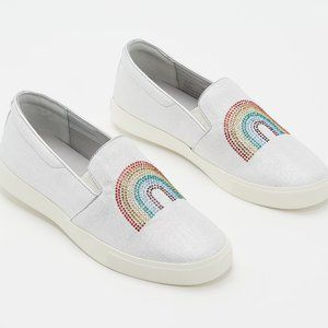 9.5 M Katy Perry Canvas Slip Ons The Kerry Rainbow